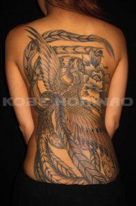 鳳凰と牡丹の刺青、和彫り(Japanese Tattoo)画像