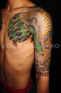 虎と竹の刺青、和彫り(Japanese Tattoo)画像