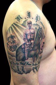 日本騎馬兵とレタリングのTattoo、タトゥーの画像(彫いち)