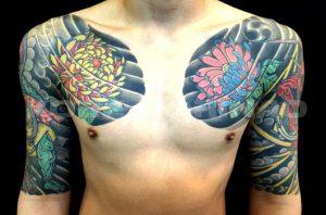 風神雷神と菊散らしの刺青、和彫り(Japanese Tattoo)画像