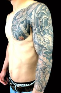 三匹龍の刺青、和彫り(Japanese Tattoo)画像