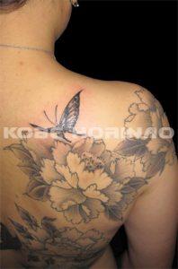 蝶と牡丹の刺青、和彫り画像