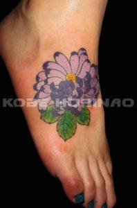 菊の刺青、和彫り画像