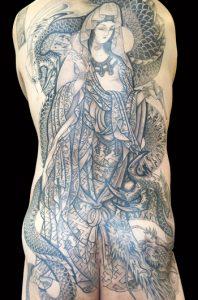 騎龍観音の刺青、和彫り画像(彫いち)