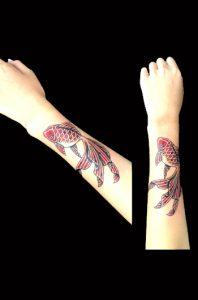 赤の金魚のワンポイントTattoo(タトゥー)、画像