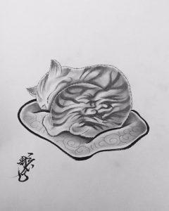 狂画「猫 (雲龍)」の下絵画像