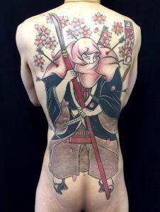 武蔵坊弁慶と桜花の刺青、和彫り画像
