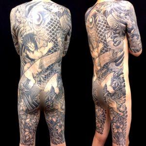 金太郎の抱き鯉・三本足の蛙・水百合の刺青、和彫り画像