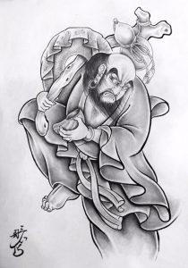 達磨大師の刺青、和彫りの下絵画像