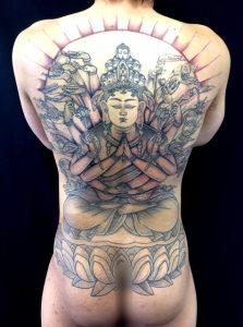 千手観音の刺青、和彫り画像