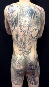 不動明王と龍の刺青、和彫り画像