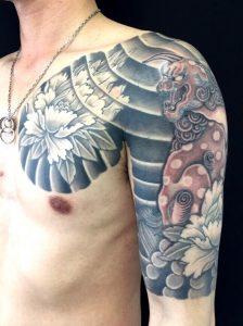 唐獅子牡丹の刺青、和彫り(Japanese Tattoo)画像