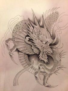 阿形の龍の刺青、和彫り(Japanese Tattoo)の下絵画像