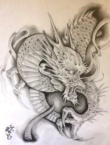 雲龍図の刺青、和彫り(Japanese Tattoo)の下絵画像