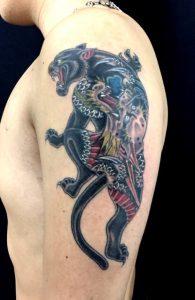 ブラックパンサー(龍図)の刺青、和彫り(Japanese Tattoo)画像