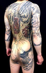 不動明王と迦楼羅炎の刺青、和彫り(Japanese Tattoo)画像