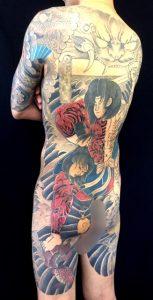 張順水門破り(迦楼羅炎の二重彫り)の刺青、和彫り(Japanese Tattoo)画像