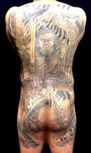 不動明王と正面龍の刺青、和彫り(Japanese Tattoo)画像