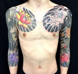 鯉と蓮の花の刺青、和彫り(Japanese Tattoo)画像
