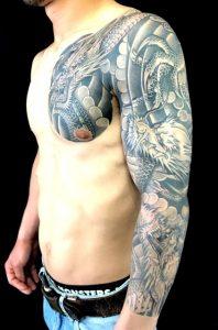 阿吽の三匹龍の刺青、和彫り(Japanese Tattoo)画像