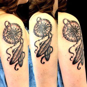 ドリームキャッチャーの刺青、和彫り(Japanese Tattoo)画像