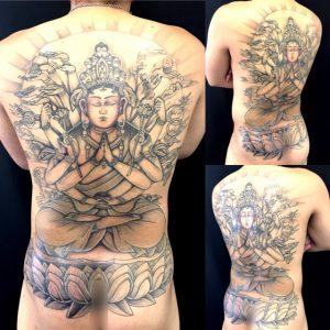 千手観音の刺青、和彫り(Japanese Tattoo)画像