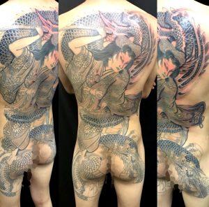 橘姫と龍 ※一部リメイクの刺青、和彫り(Japanese Tattoo)の画像