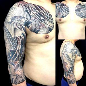 鯉群・登り鯉・下り鯉・紅葉の刺青、和彫り(Japanese Tattoo)の画像