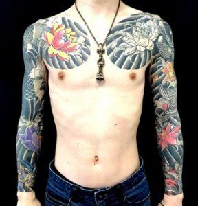 登り鯉・昇龍・蓮※カバーアップの刺青、和彫り(Japanese Tattoo)画像
