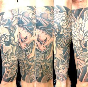 般若と菊の刺青、和彫り(Japanese Tattoo)の画像