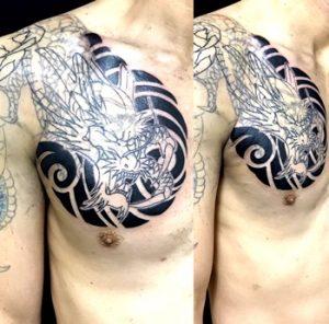 龍・額トライバル※カバーアップの刺青、和彫り(Japanese Tattoo)画像