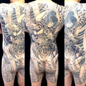 虎王丸と竹の刺青、和彫り(Japanese Tattoo)画像