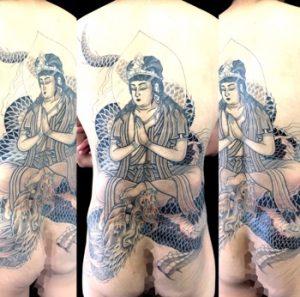騎龍観音 ※カバーアップの刺青、和彫り(Japanese Tattoo)画像