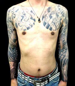 阿吽の虎・竹・梵字・鬼面・般若面の刺青、和彫り(Japanese Tattoo)画像