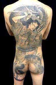 橘姫と龍の刺青、和彫り(Japanese Tattoo)画像