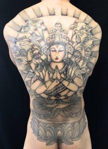 千手観世音菩薩の刺青、和彫り(Japanese Tattoo)画像