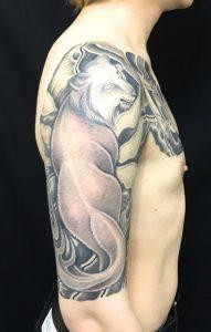 狐と満月の刺青、和彫り(Japanese Tattoo)画像