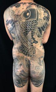 登り鯉と下り鯉・桜散らしの刺青、和彫り(Japanese Tattoo)の画像です。