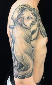 狐・満月・雪の刺青、和彫り(Japanese Tattoo)の画像です。