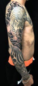 虎・竹・梵字・鬼の刺青、和彫り(Japanese Tattoo)の画像です。