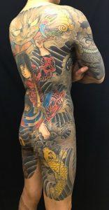 張順水門破り・登龍門・出目金の刺青、和彫り(Japanese Tattoo)の画像です。