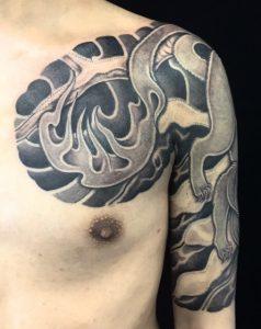 妖狐・雪の刺青、和彫り(Japanese Tattoo)の画像です。
