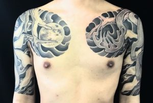 妖狐・満月・雪の刺青、和彫り(Japanese Tattoo)の画像です。