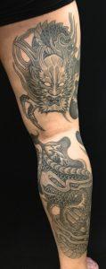 向かい龍・正面龍の刺青、和彫り(Japanese Tattoo)の画像です。