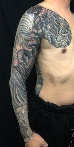 虎・竹林・鬼の刺青、和彫り(Japanese Tattoo)画像です。