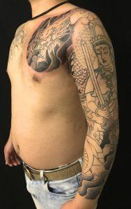 龍と虚空蔵菩薩の刺青、和彫り(Japanese Tattoo)の画像です。