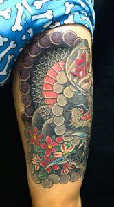 龍と桜の刺青、和彫り(Japanese Tattoo)の画像です。