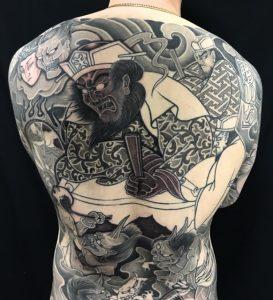 閻魔大王と地獄絵図の刺青、和彫り(Japanese Tattoo)の画像です。