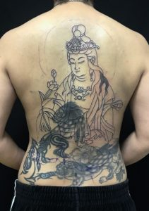 観世音菩薩 ※カバーアップの刺青、和彫り(Japanese Tattoo)の画像です。