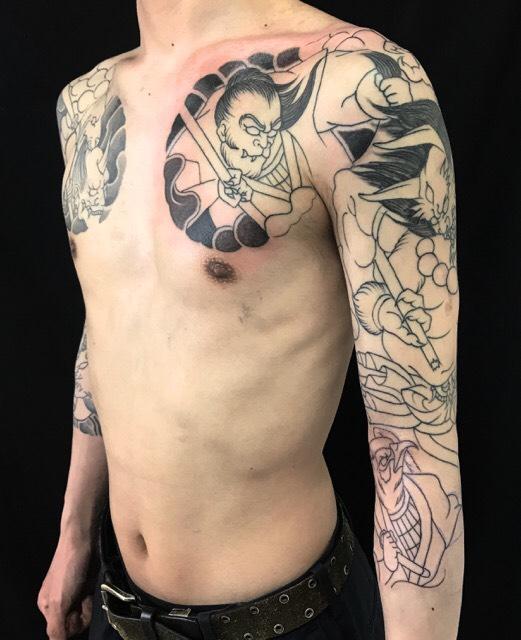 鬼ヶ島・猿・雉・鬼退治の刺青、和彫り(Japanese Tattoo)の画像です。